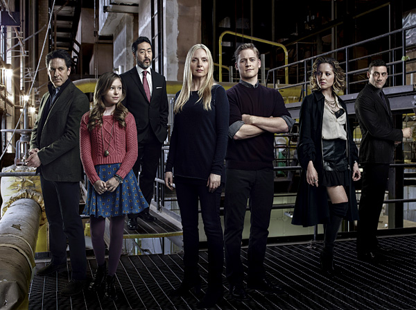 "Scott Cohen as Mark O'Connor, Alex Peters as Sarah O'Connor, Kenneth Choi as Sam Lutrell, Hope Davis as Katya O'Connor, Gavin Stenhouse as Alex O'Connor, Margarita Levieva as Natalie O'Connor, Morgan Spector as Victor Dobrynin in ""Allegiance."""