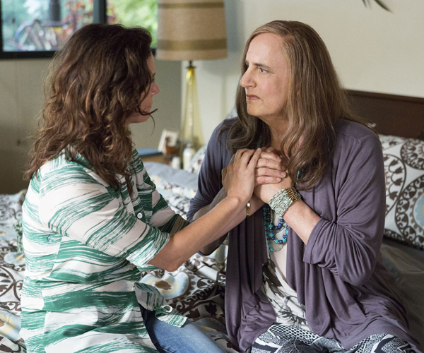 "Jeffrey Tambor, right, and Amy Landecker appear in a scene from ""Transparent."""