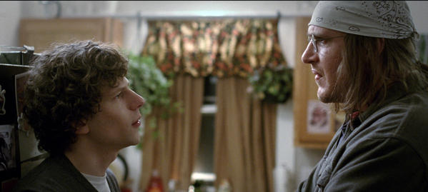 "Jesse Eisenberg, left, as David Lipsky, and Jason Segel, as David Foster Wallace, in a scene from ""The End of the Tour."""