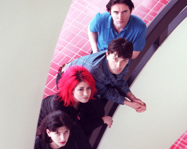 Lush in 1996: Left to right from below, Emma Anderson, Miki Berenyi, Chris Acland and Philip King.