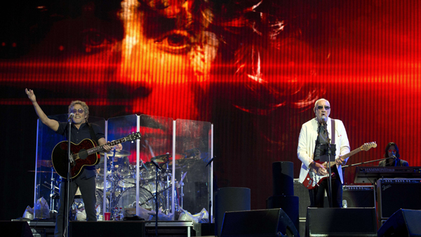 Roger Daltrey, left, and Pete Townshend of The Who perform at the Glastonbury Festival of Music and Performing Arts on June 28.
