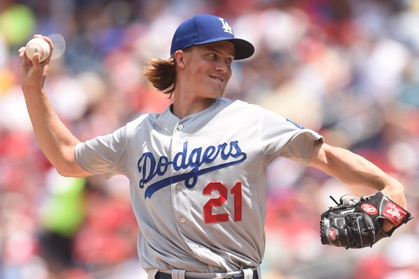 Dodgers starter Zack Greinke delivers a pitch during the second inning of a 5-0 win over the Washington Nationals.