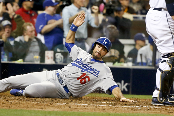 Dodgers outfielder Andre Ethier scores the go-ahead run in the eighth inning of a win over the San Diego Padres.