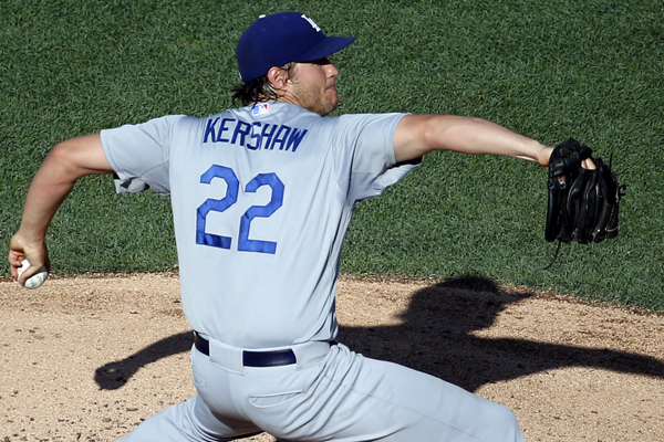 Dodgers starter Clayton Kershaw delivers a pitch during a 4-2 victory over the Washington Nationals on July 18, 2015.