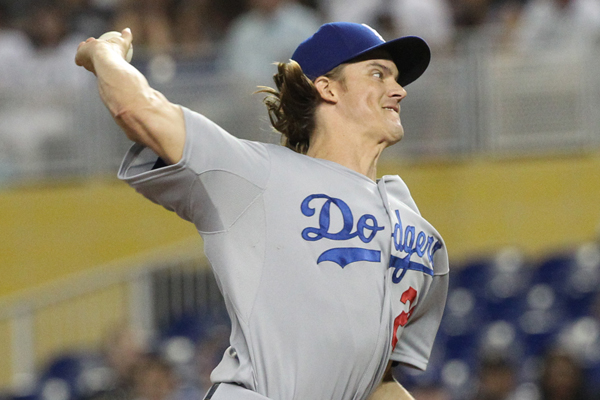 Dodgers starter Zack Greinke delivers a pitch during the first inning of a 2-0 victory over the Miami Marlins.