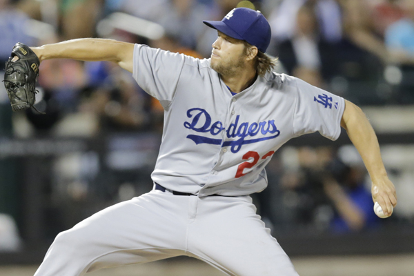 Dodgers starter Clayton Kershaw delivers a pitch during the ninth inning of a 3-0 victory over the New York Mets.