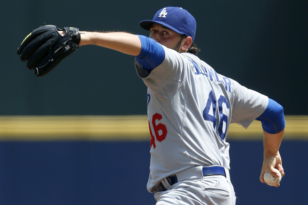 Dodgers starter Mike Bolsinger delivers a pitch during the first inning of a 3-1 victory over the Atlanta Braves.