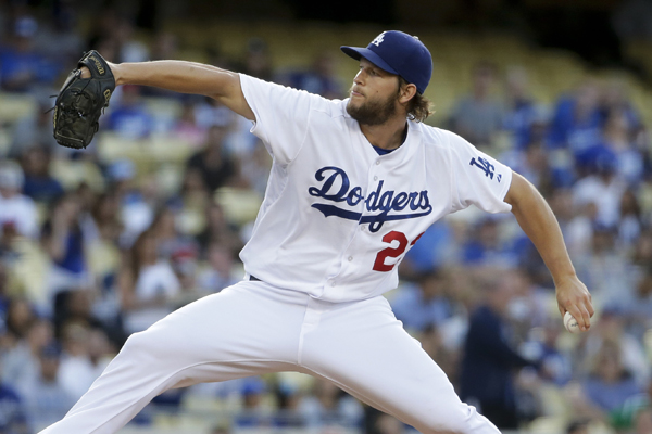 Dodgers starter Clayton Kershaw delivers a pitch during the first inning of a 5-0 win over the Philadelphia Phillies.