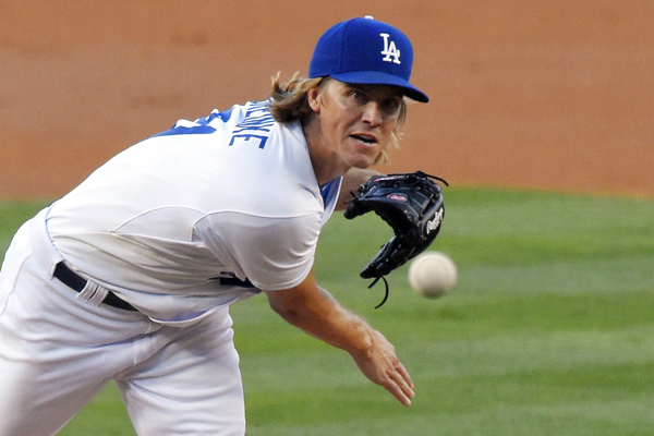 Dodgers starter Zack Greinke delivers a pitch during the second inning of a 6-0 victory over the Philadelphia Phillies.