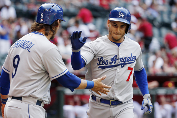 Dodgers third baseman Alex Guerrero, right, is congratulated by teammate Yasmani Grandal after hitting a two-run home run against the Diamondbacks.