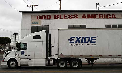 A truck at the Exide Technologies plant in Vernon.