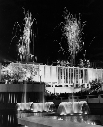 The sky above the new Los Angeles County Museum of Art is lighted by fireworks during dedication ceremonies.