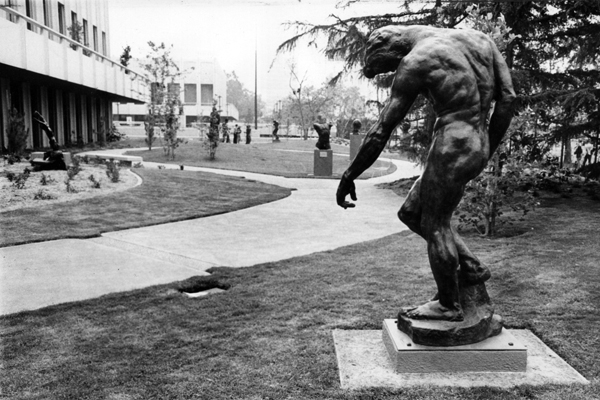 "Auguste Rodin's <a href=""http://collections.lacma.org/node/240590"" target=""_blank"">""The Shade""</a> graces the B. Gerald Cantor Sculpture Garden in 1988."