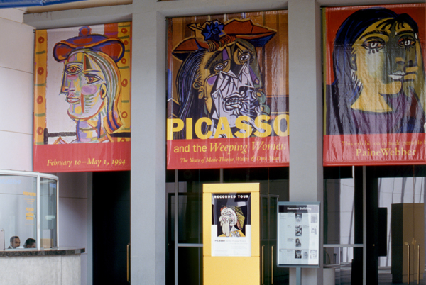 "The entrance to LACMA's 1994 exhibition ""Picasso and the Weeping Women: The Years of Marie-Therese Walter and Dora Maar."""