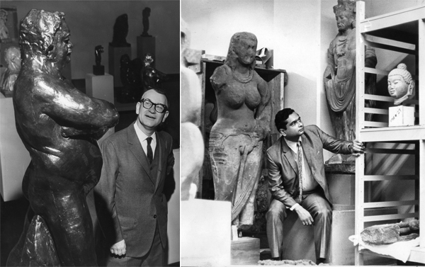 LACMA Director Kenneth Donahue, left, views a sculpture of Honore de Balzac in 1967. Curator Dr. Pratapaditya Pal, right, is photographed in 1970.