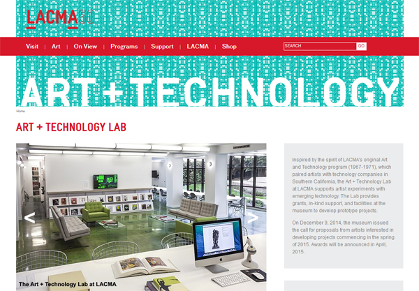 "A screenshot of LACMA's <a href=""http://www.lacma.org/lab"" target=""_blank"">Art + Technology website</a>."
