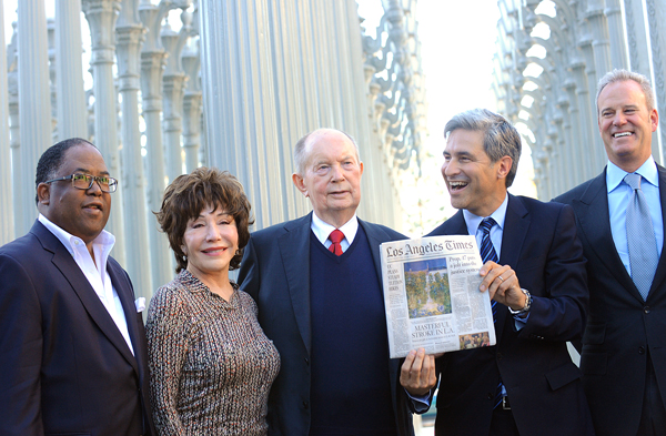 A. Jerrold Perenchio, center, is flanked by L.A. County Supervisor Mark Ridley-Thomas, left, LACMA trustee Lynda Resnick, LACMA Director Michael Govan and LACMA board co-chair Andrew Gordon after the official announcement Thursday of Perenchio's bequest to the Los Angeles County Museum of Art.