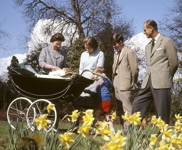 From left to right, Queen Elizabeth II, Prince Edward, Princess Anne, Prince Andrew, Prince Charles and the Duke of Edinburgh celebrate the queen's birthday at Frogmore House, Windsor, on April 21, 1965.
