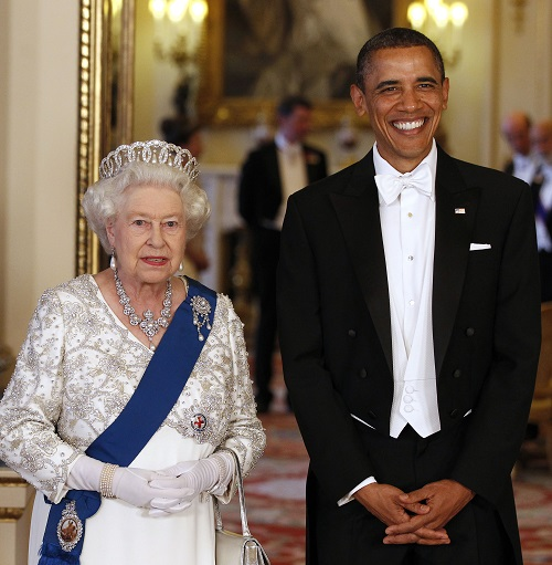 Queen Elizabeth II poses with President Obama in the Music Room of Buckingham Palace ahead of a state banquet on May 24, 2011.