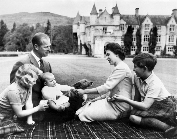 Queen Elizabeth II and Prince Philip with their children, from left, Princess Anne, Prince Andrew and Prince Charles at Balmoral Castle in Scotland on Sept. 8, 1960.