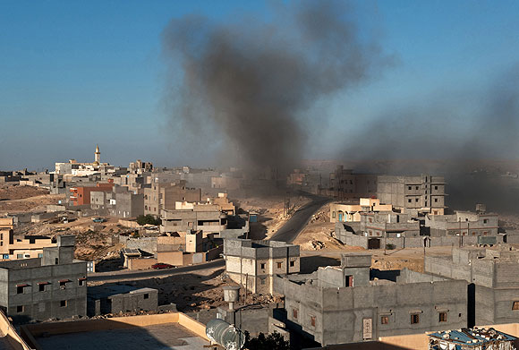Smoke billows from a neighborhood of Nalut, a Berber town in western Libya.