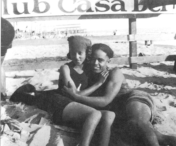 "An image from the book ""Shades of L.A., Pictures From Ethnic Family Albums"" by Carolyn Kozo Cole and Kathy Kobayashi, shows a couple at Inkwell Beach."