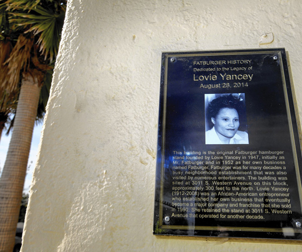 A plaque commemorating Fatburger founder Lovie Yancey at the location of the first Fatburger.