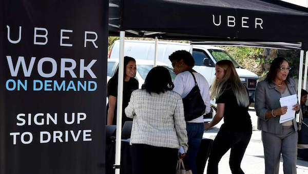 An Uber recruitment event in South Los Angeles in March.