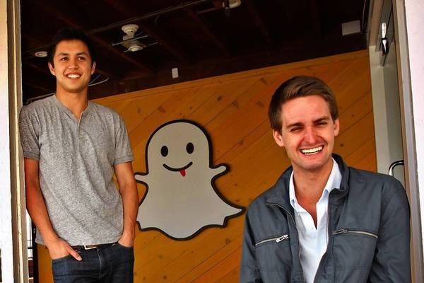 Snapchat co-founders Bobby Murphy, 24, left, and Evan Spiegel, 22, at the start-up's offices in Venice, made a deliberate choice to take Snapchat to Los Angeles shortly after coming up with the idea for the app while students at Stanford University. (Genaro Molina, Los Angeles Times)