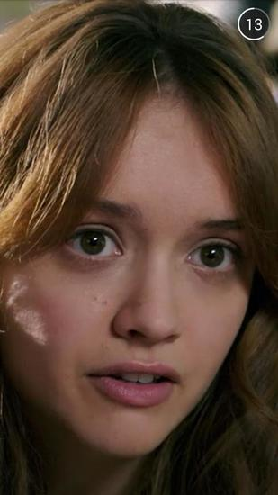 "Actress Olivia Cooke is seen a trailer for the movie ""Ouija"" that users on Snapchat had a chance to voluntarily watch."