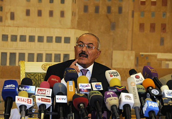 Yemeni President Ali Abdullah Saleh speaks to reporters during a news conference at the presidential palace in Sana.
