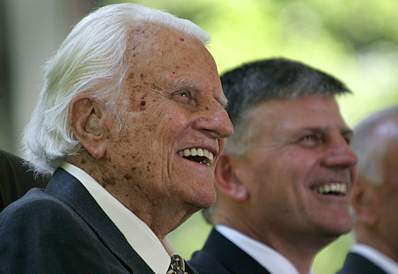 Graham and his son Franklin at a groundbreaking ceremony for the Billy Graham Library.
