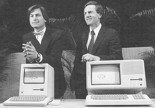 Steve Jobs, left, John Sculley, Macintosh, left, and Lisa 2