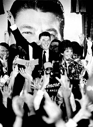 Ronald Reagan and his wife, Nancy, celebrate his 1966 election victory at the Biltmore Hotel