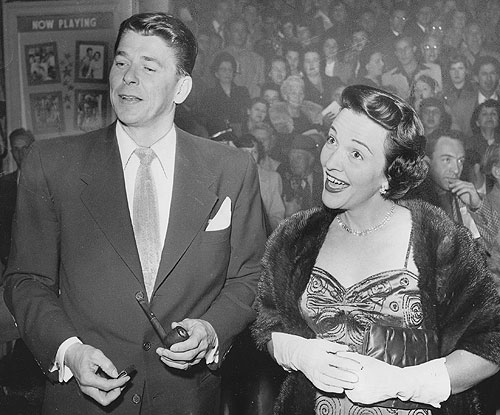 Ronald Reagan and Nancy Davis at a Hollywood function in February 1952