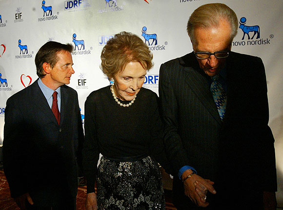 Former first lady Nancy Reagan with Larry King and Michael J. Fox.