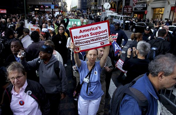 An Occupy Wall Street march in Lower Manhattan. (Oct. 5, 2011)