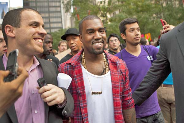 Musician Kanye West visits the Occupy Wall Street protest in Zuccotti Park. (Oct. 10, 2011)