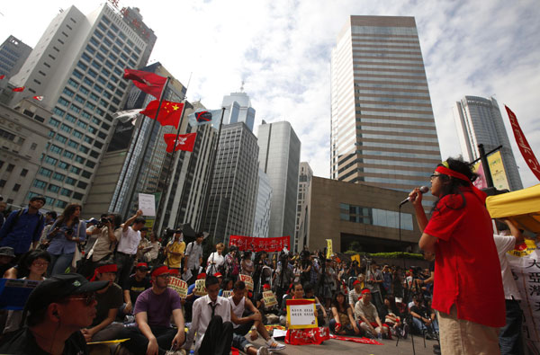 Occupy Hong Kong protesters rally outside Hong Kong Exchange Square.