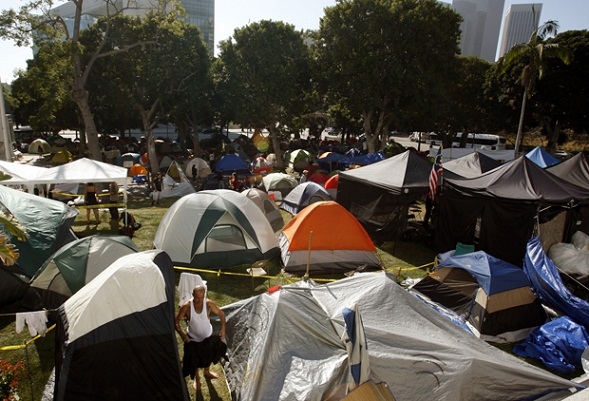 The Occupy L.A. encampment fills the City Hall lawn in downtown Los Angeles.