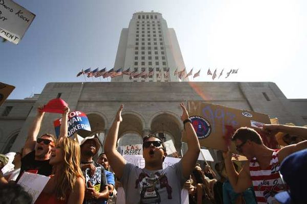 Demonstrators outside L.A. City Hall.