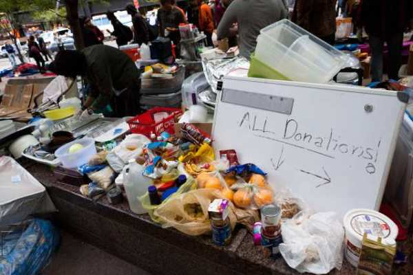 Supported by food donations, the Occupy Wall Street camp vows to push on with its protest.