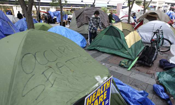 The Occupy Seattle encampment in downtown Seattle's Westlake Park.