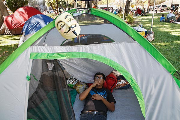 Tony Rodriguez, 25, of East Los Angeles set up camp outside Los Angeles City Hall.