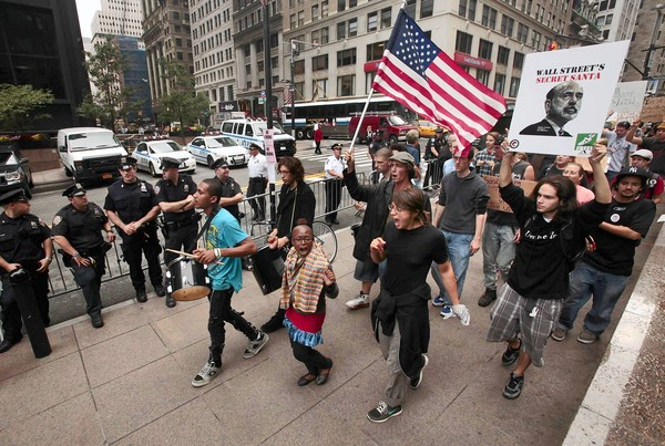 A march through the streets of Lower Manhattan on Sept. 30, 2011.