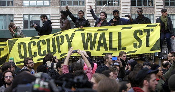 Occupy Wall Street protesters rally in New York.