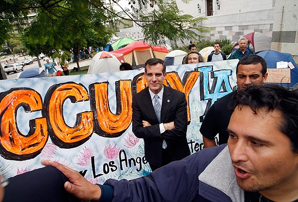 Los Angeles City Council President Eric Garcetti visits the Occupy L.A. campsite. (Oct. 4, 2011)