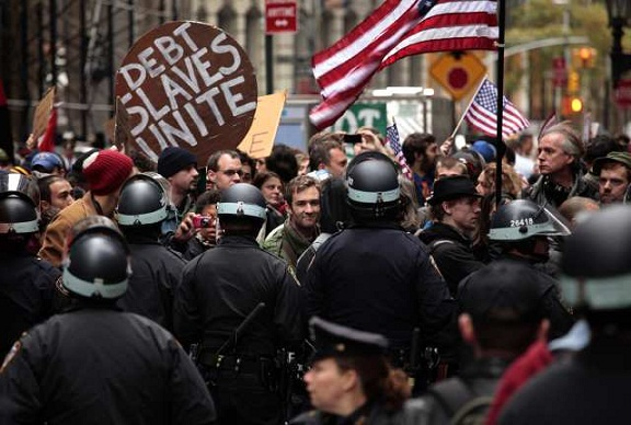 Hundreds of Occupy Wall Street protesters marched through the financial district trying to shut off access to the New York Stock Exchange and major banks.