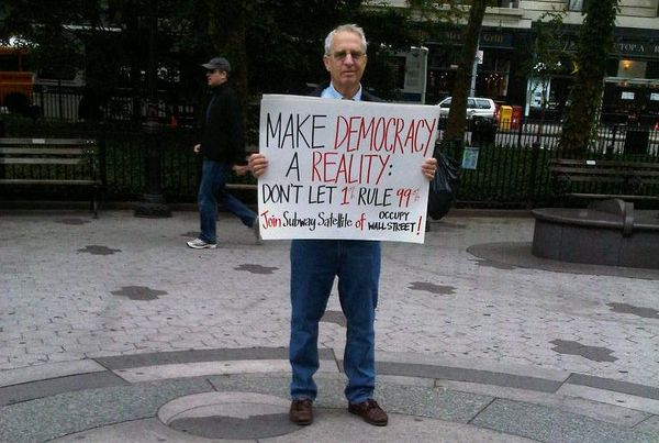 Bob Heller, 69 and retired after a career in corporate public relations, isn't about to throw up a tent downtown with the youngsters occupying Zuccotti Park. He says he is disgusted by the country's disparity in incomes and finds it his duty to hold a morning vigil at his neighborhood subway stop.