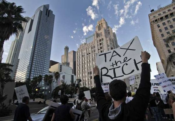 Occupy L.A. protesters march downtown. (Oct. 3, 2011)